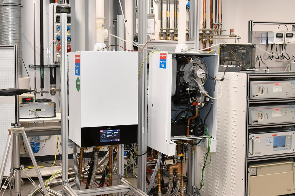 "The image shows an ""H2-ready"" condensing boiler from Viessmann."
