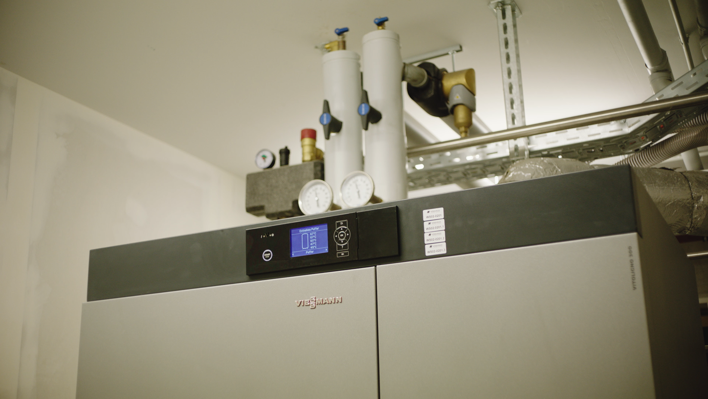 The picture shows a Viessmann heating system in Oberstdorf