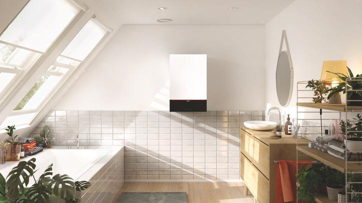 The picture shows the Vitodens 200 in the bathroom as a symbol of high quality of life.
