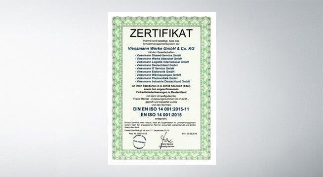 Das Bild zeigt das ISO 14001 Zertifikat von Viessmann