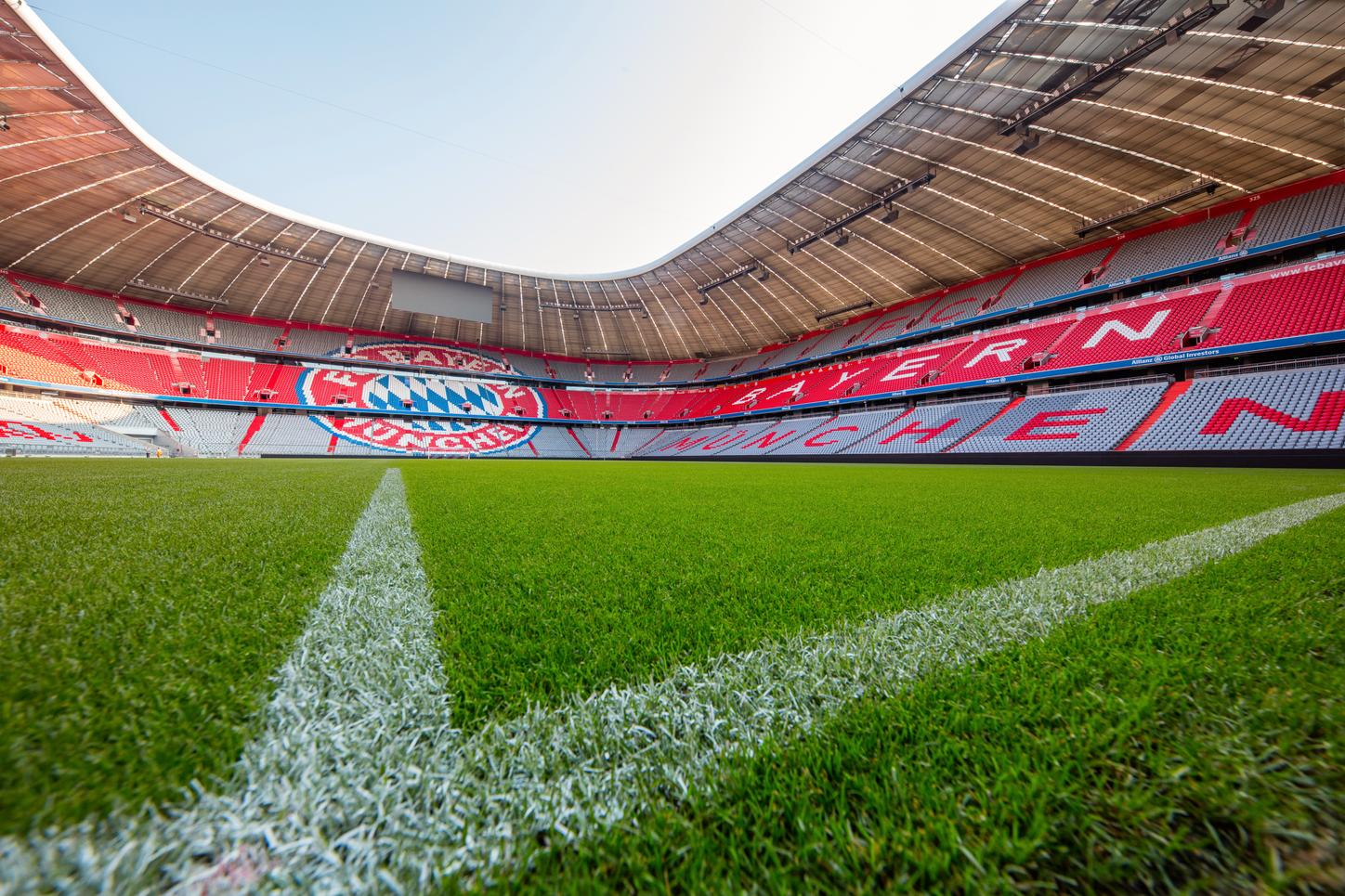 The picture shows the Allianz Arena from the inside.