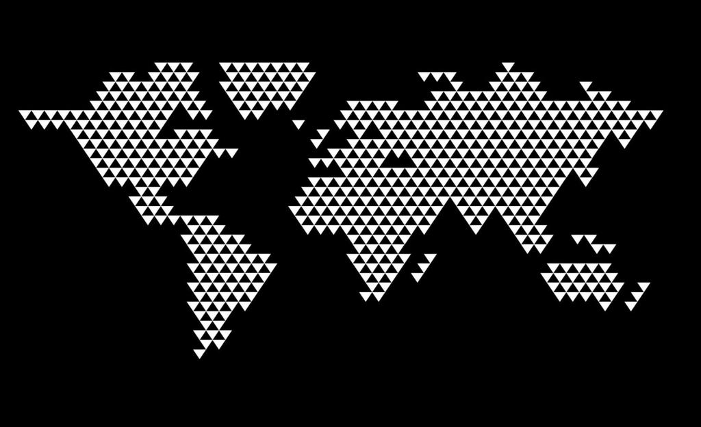 World map with white triangles on black background.