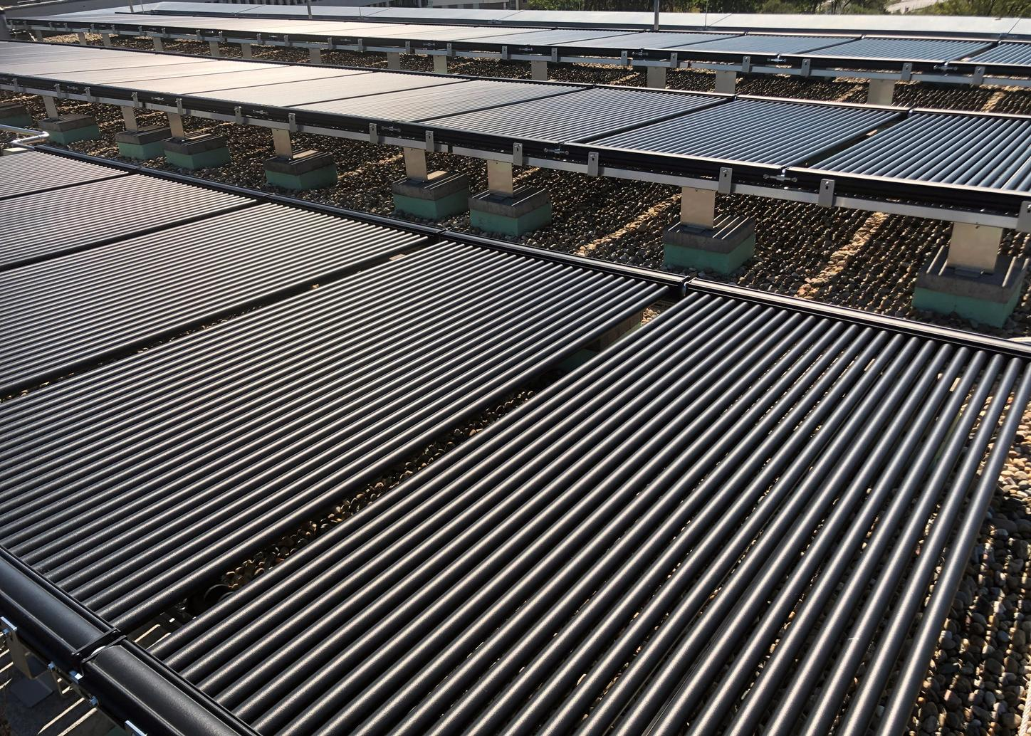 The image shows central solar air absorber unit for the anergy network.