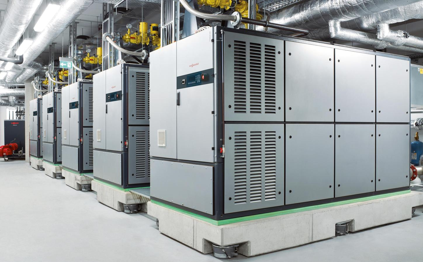The picture shows combined heat and power units from Viessmann.