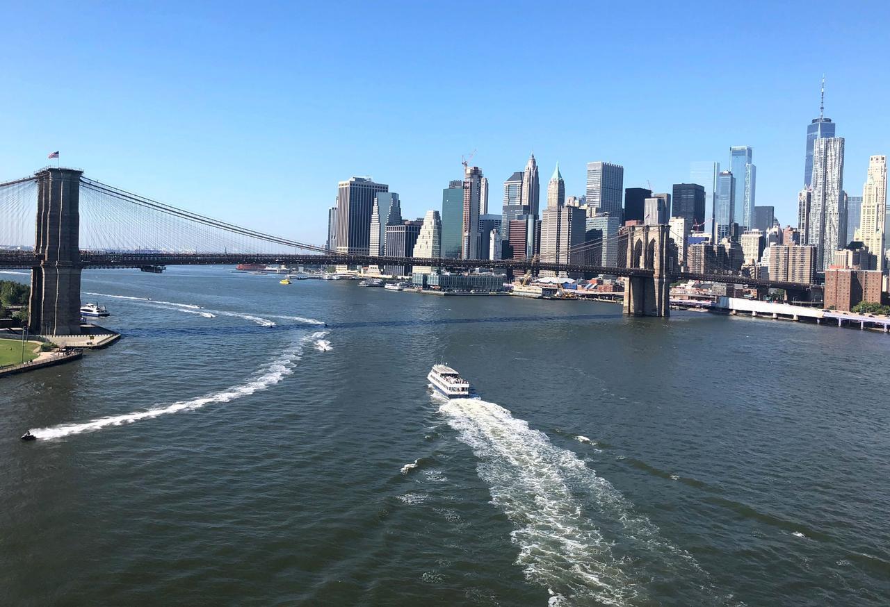 Die Brooklyn Bridge mit Manhattan im Hintergrund