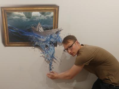 Das Gemälde verliert wohl Wasser.