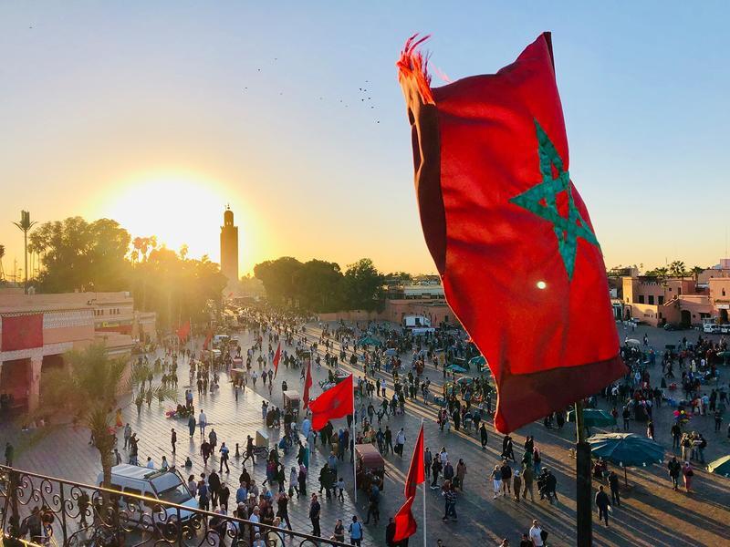 Blog marrakesch sonnenuntergang fahne