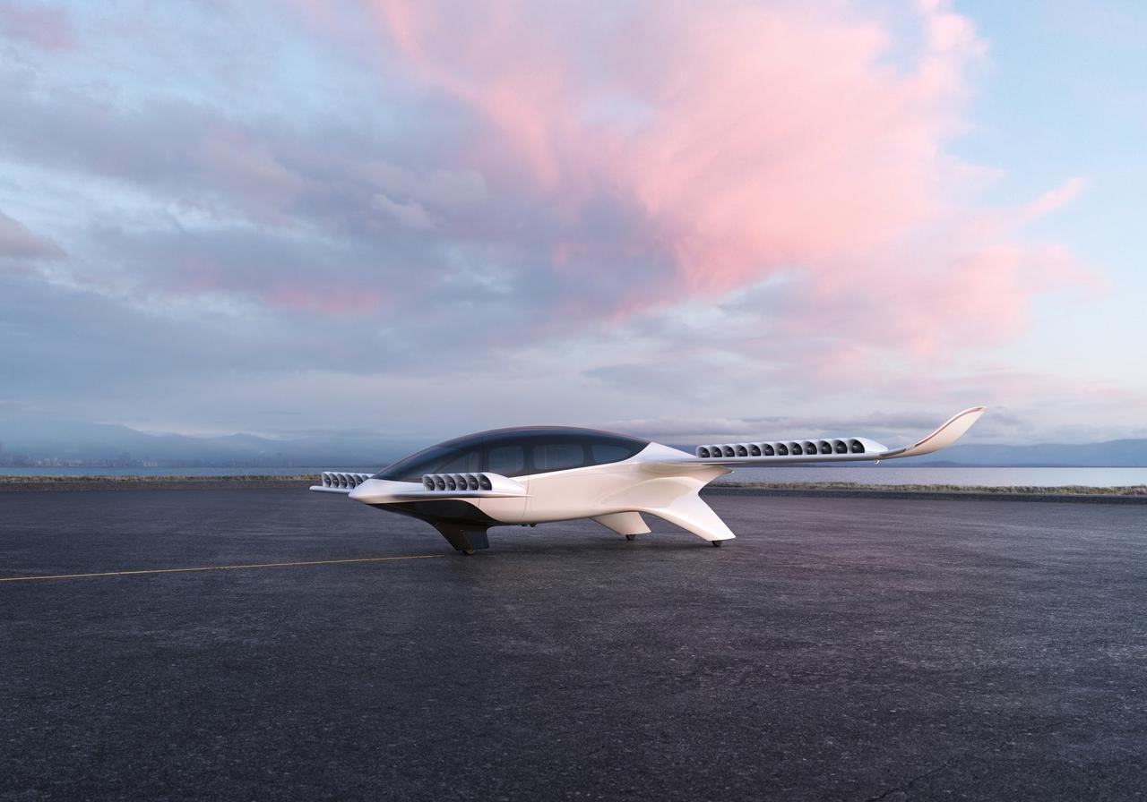 Darstellung eines Lilium Jets.Lilium entwickelt elektrische, senkrecht startende und landende Flugzeuge und digitale Services.