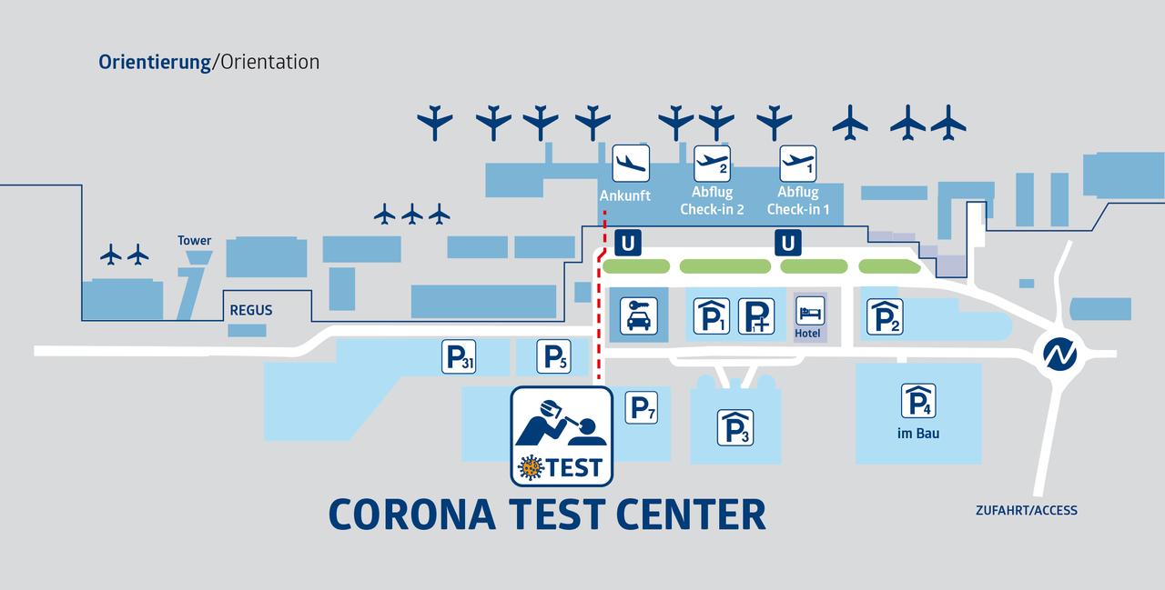 Lageplan Corona Test Center Airport Nürnberg