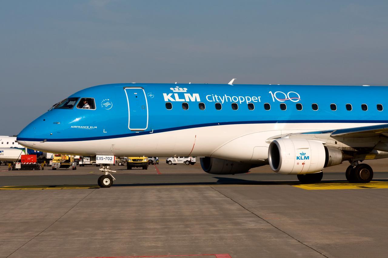 KLM mit Jubiläums-Sticker zum 100-jährigen Bestehen in 2019.