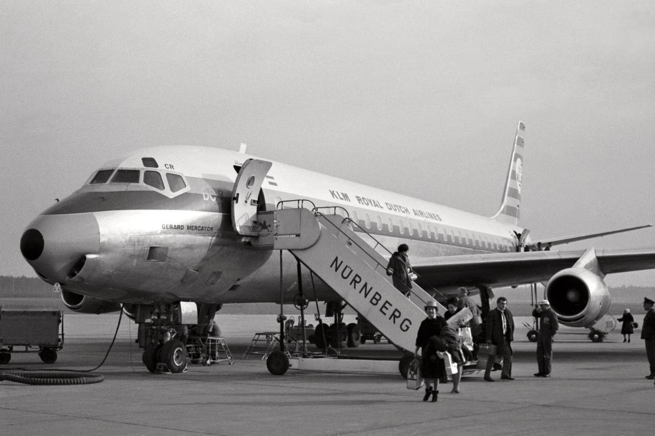 KLM am Airport Nürnberg in den 1960er Jahren.
