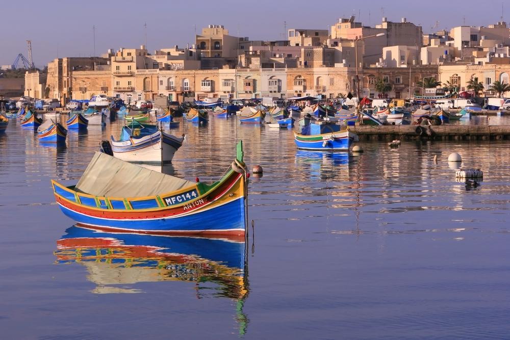 Boote vor Marsaxlokk auf Malta