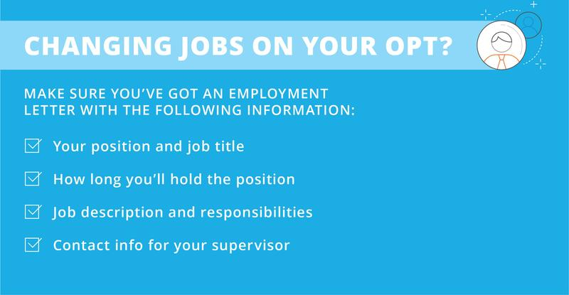 What should be in your employment letter when changing jobs on F-1 OPT visa