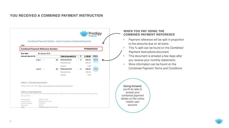 Prodigy Finance single combined payment instructions