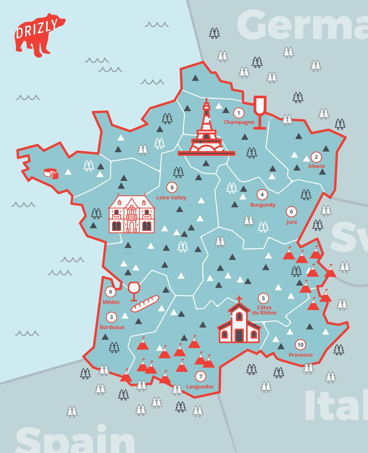French Wine Regions Map Drizly