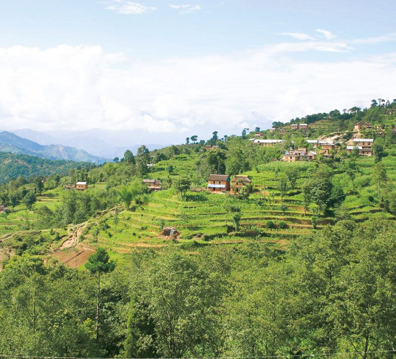 nepal nagarkot berge und meer