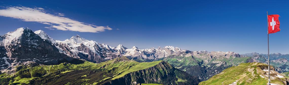 Schweiz Landschaft Flagge berge und meer
