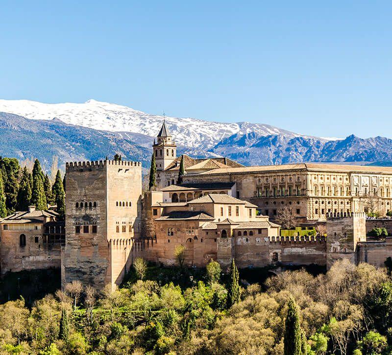 spanien granada alhambra berge und meer