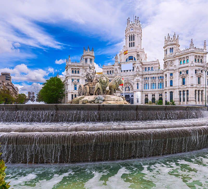 spanien madrid plaza de la cibeles berge und meer