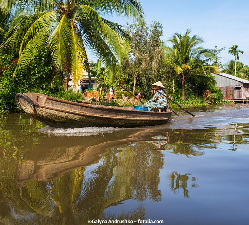 vietnam mekong boot berge und meer