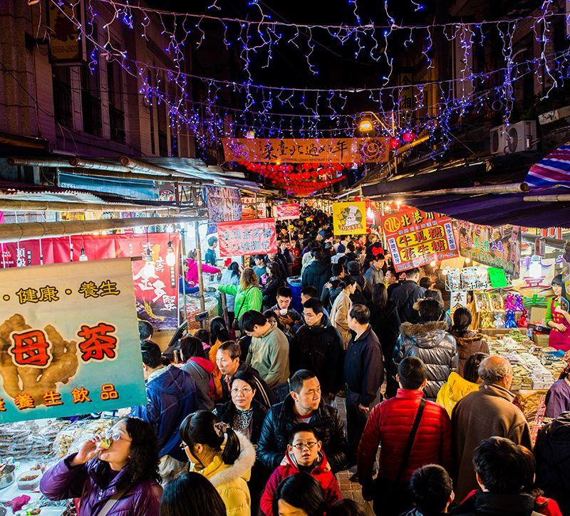taiwan nachtmarkt berge und meer