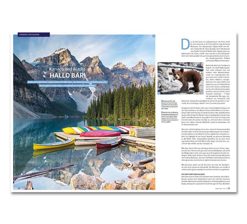 Reisemagazin Seite berge und meer