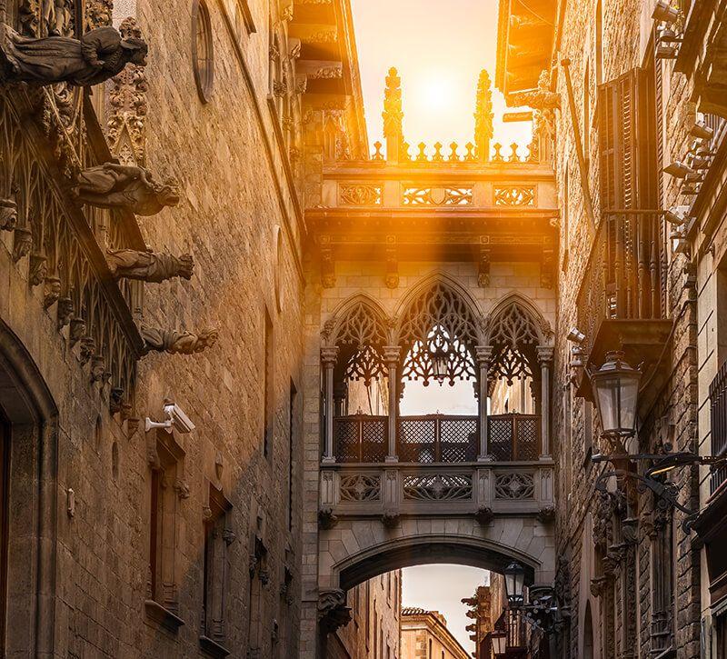 spanien barcelona barri gotic berge und meer