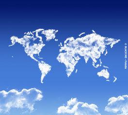 visa info Weltkarte Wolken berge und meer