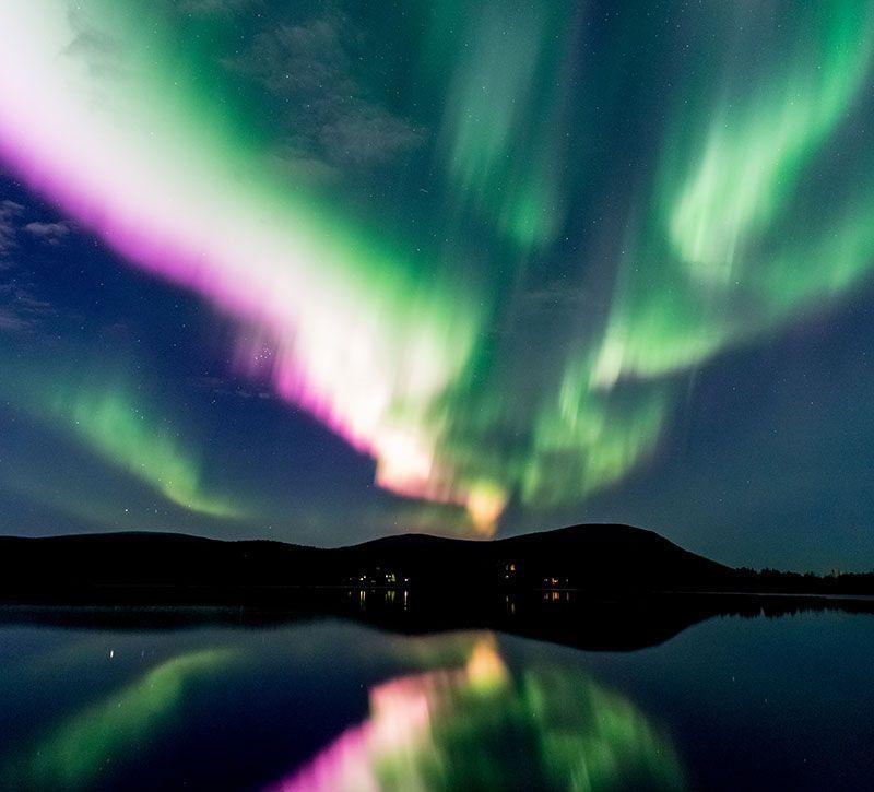 finnland polarlichter berge und meer
