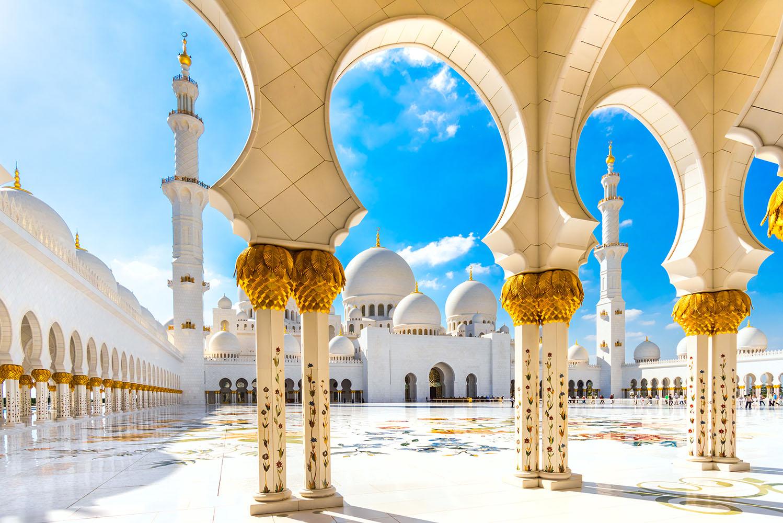 Vereinigte Arabische Emirate, Abu Dhabi, Scheich Zayid Moschee berge und meer