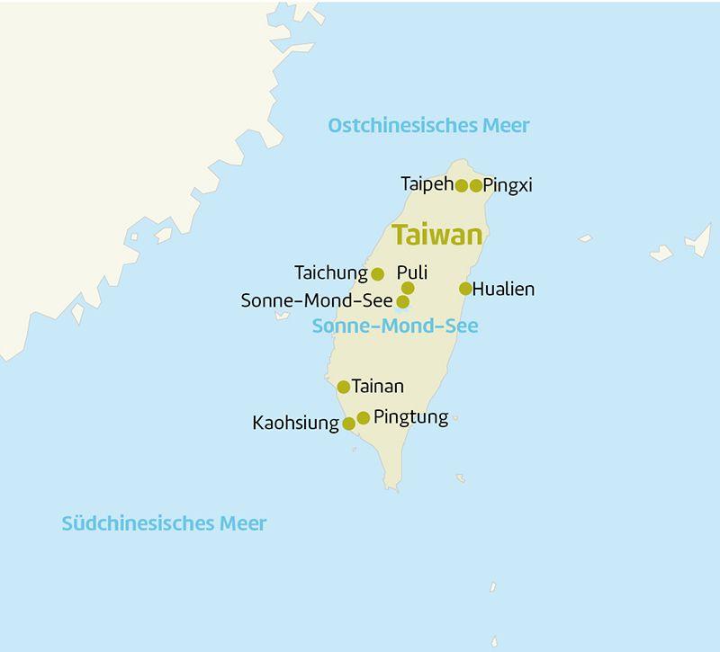 taiwan taiwan karte berge und meer