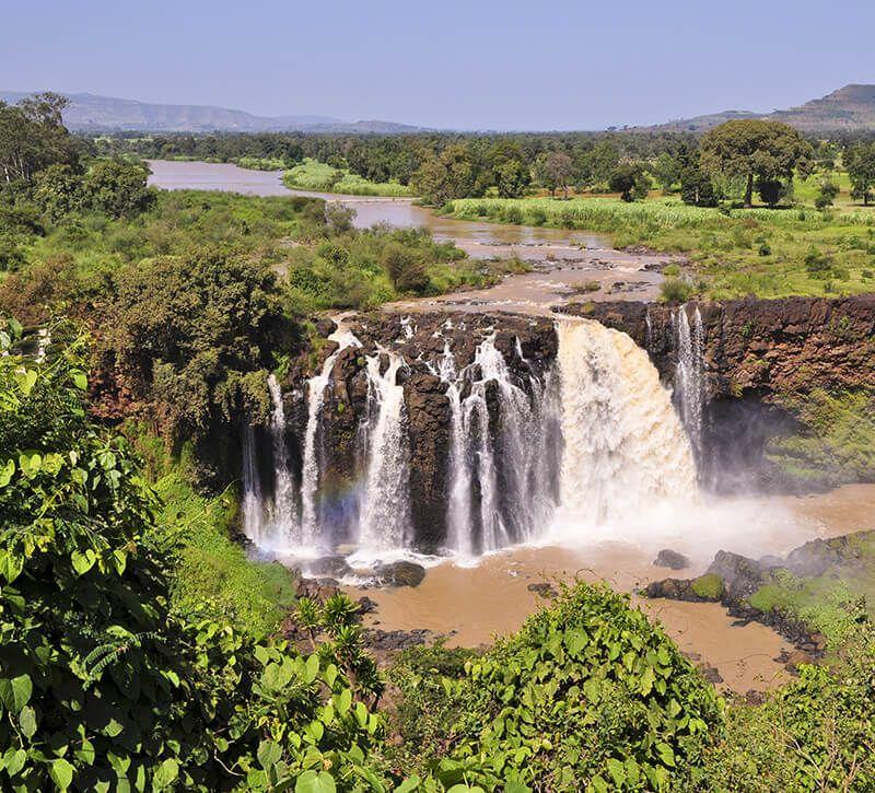 aethiopien blaue nilfaelle berge und meer