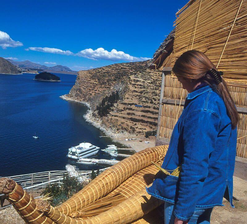 bolivien titicacasee berge und meer