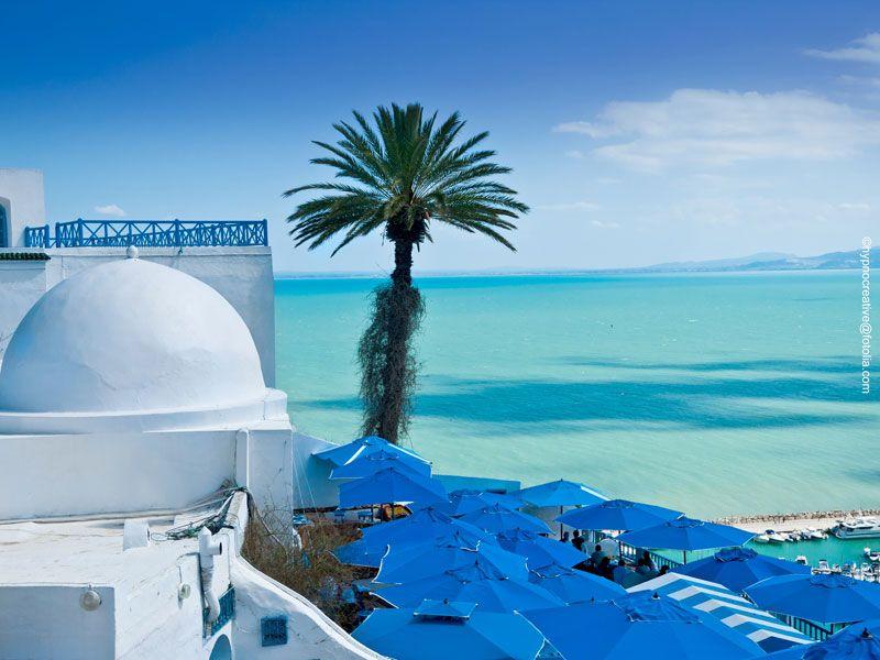 tunesien sidi bou said meer aussicht berge und meer
