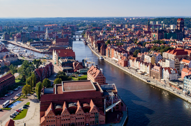 Gdansk poland aerial skyline with motlawa river bridges marina baltic philharmonic hall and famous monuments