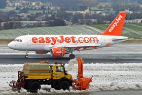 EasyJet Maschine auf der Startbahn im Winter