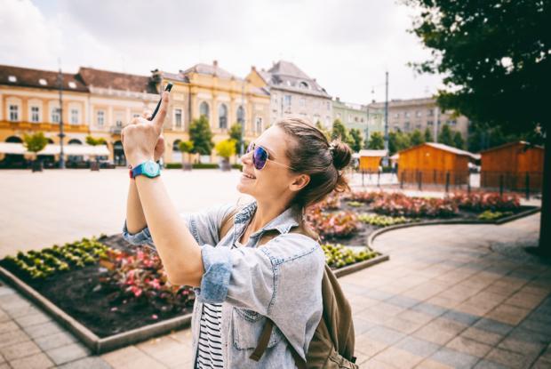 Touristin in Debrecen