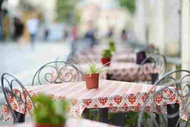 Beautiful outdoor restaurant in vilnius on beautiful summer day