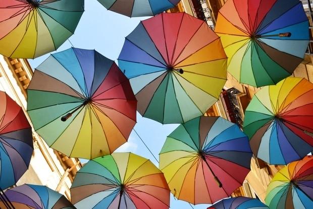 Colorfulumbrellasintheskyvictorieipassageinbucharestcitycentreromania