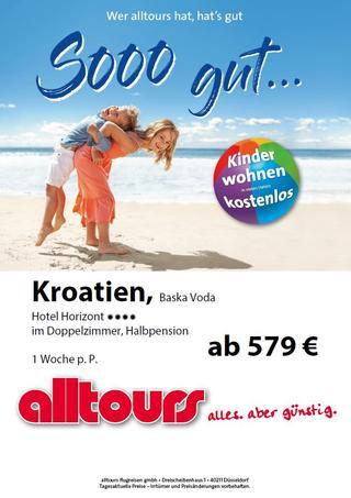 Angebot von alltours für eine Reise nach Baska Voda mit Flug ab Dortmund Airport