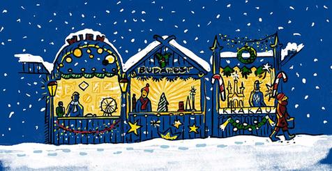 Illustration mit Weihnachtsmarktbuden in Wien, Budapest und Krakau.