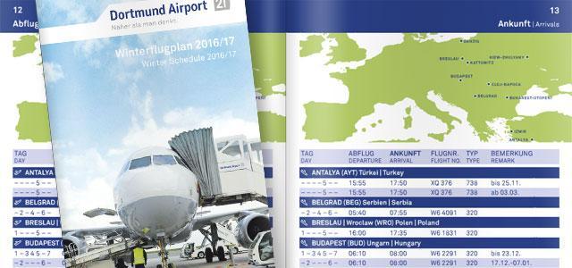 Titel- und Inhaltsseiten des Winterflugplans des Dortmund Airport für die Saison 2016/2017.