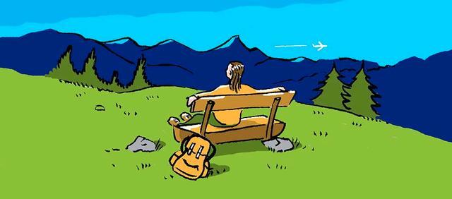 Illustration zum Thema Wandern: Eine Frau sitzt auf einer Bank und genießt das Bergpanorama.