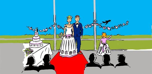 Illustration mit Brautpaar, Hochzeitstorte und Gästen in der AirportLounge des Dortmunder Flughafens. Im Hintergrund die Start- und Landebahn mit abhebendem Flugzeug.