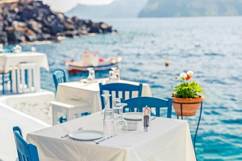 Restaurant auf santorini