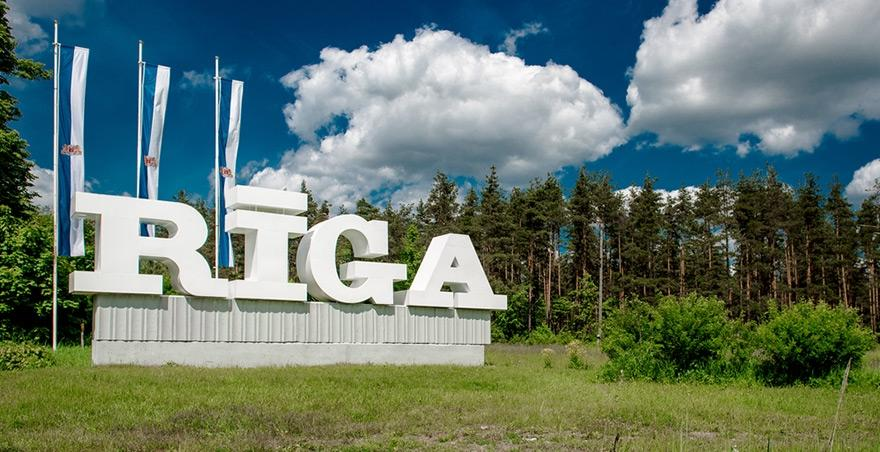 Riga sign at the entrance latvias capital northern europe