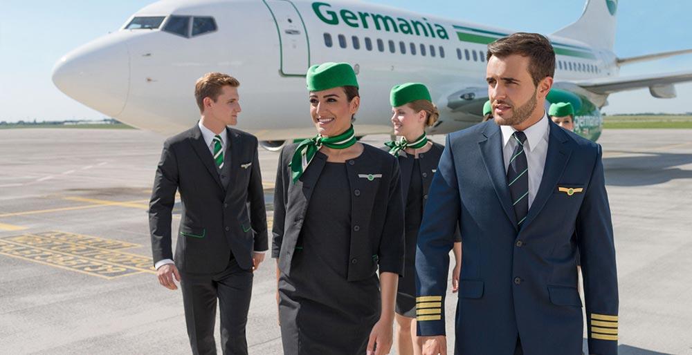 Germania crew auf dem vorfeld