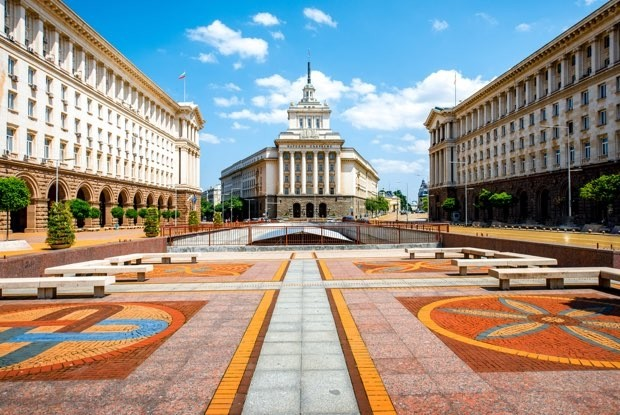 An architectural ensemble of three socialist classicism edifices in central sofia the capital of bulgaria