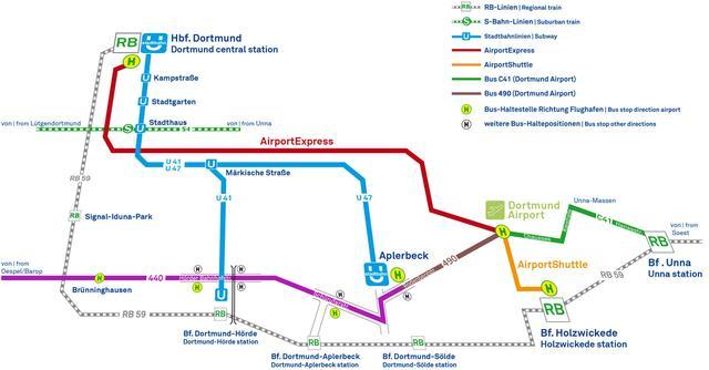 Karte der Verbindungen des ÖPNV zum Dortmund Airport