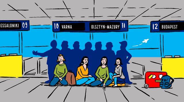 Illustration einer Reisegruppe vor den Check-in Schaltern des Dortmund Airport